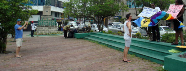 Two tourists in Barbados come across a small protest against the country's buggery law.