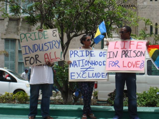 On Aug. 21, again in front of the Barbados parliament building, protesters seek the repeal of Section 9 of the Sexual Offences Act. (Photo courtesy of Maurice Tomlinson)