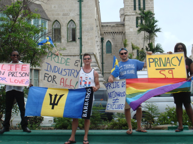 ... so the tourists join the protest. (Photos courtesy of Maurice Tomlinson)