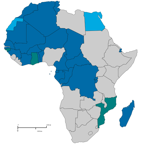 French-speaking African countries. Countries in dark grey are members of the International Francophone Organization (Map courtesy of Wikipedia)