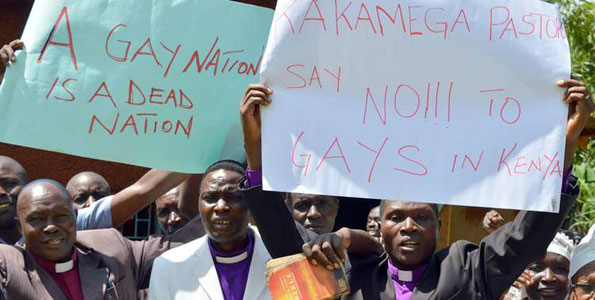 The East African used this photo of an anti-gay  demonstration in Kenya to illustrate its article about anti-gay stigma in Rwanda.