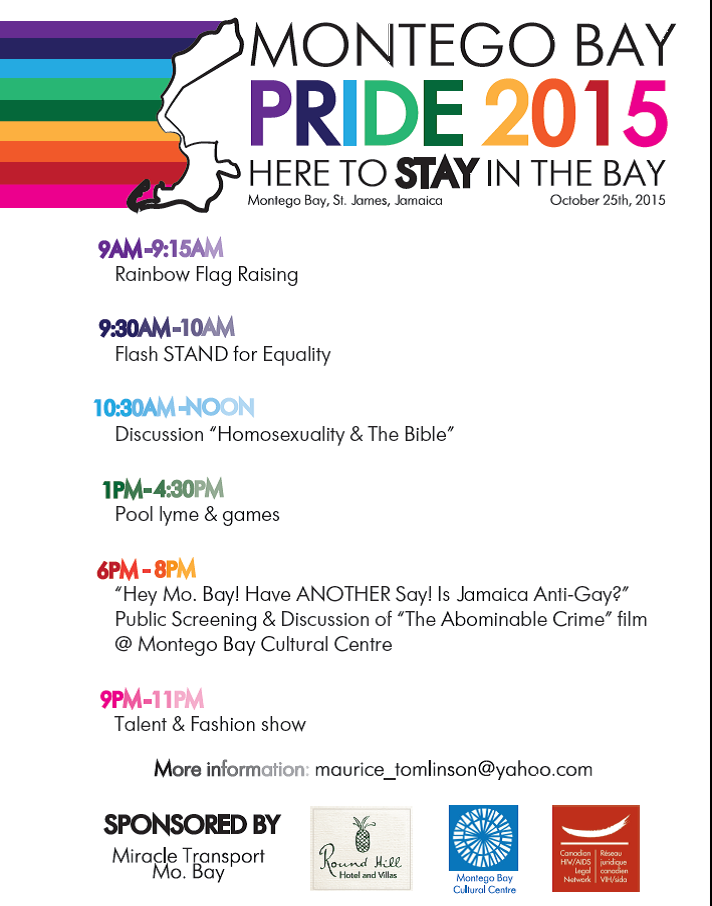 Schedule of events during Montego Bay Pride, Oct. 25, 2015.