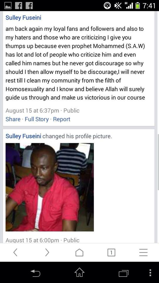 A portion of Sulley Fuseini's Facebook page before it was taken down.
