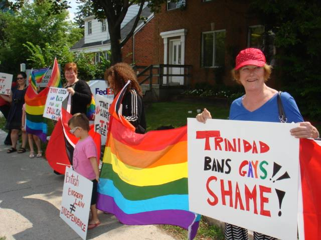 Stand for Liberty in front of the Trinidad consulate in Toronto on Aug. 28, 2015. (Photo courtesy of Maurice Tomlinson)