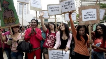 Photo of 2007 protest by trans Indonesians seeking recognition of their human rights. (Photo courtesy of Rappler)