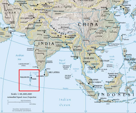 Location of the Maldives south of India. (Map courtesy of american.edu)