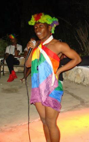 Keke entertains the gathering at Montego Bay Pride, Jamaica, on Oct. 25, 2015. (Photo courtesy of Maurice Tomlinson)