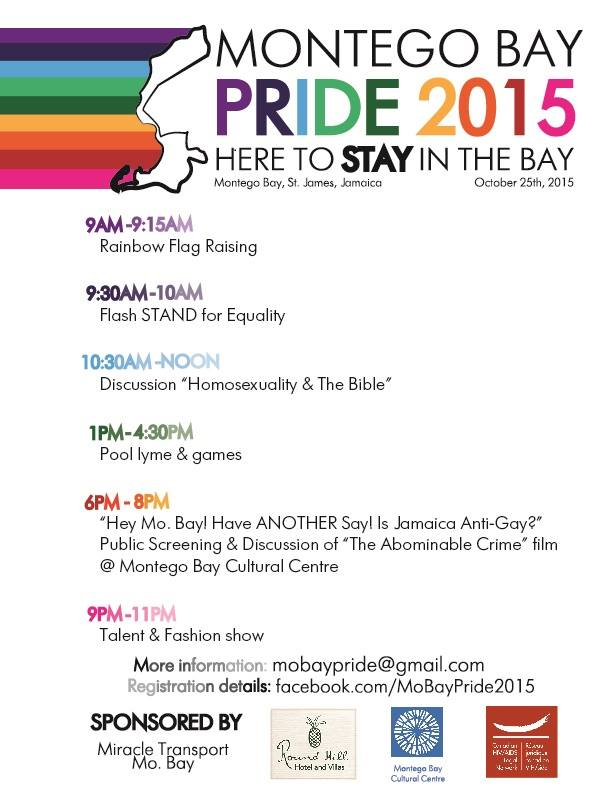 Flyer for Montego Bay Pride in Jamaica