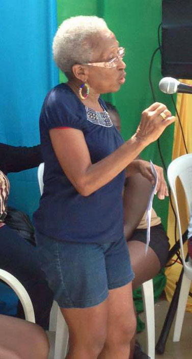 Jamaican activist Yvonne McCalla-Sobers addresses Montego Bay Pride on Oct. 25, 2015. (Photo courtesy of Maurice Tomlinson)