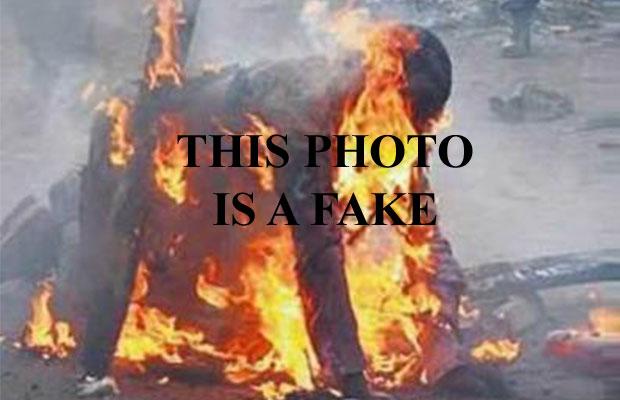 Photo of man being burned alive has been presented as taken in Pakistan, Kenya, South Africa, Burundi and Nigeria.