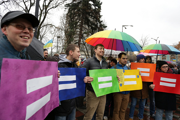 Protesters on Nov. 10 in Kiev push for a ban on discrimination against LGBT people in the workplace. (Photo by Anastasia Vlasova courtesy of Kyiv Post)