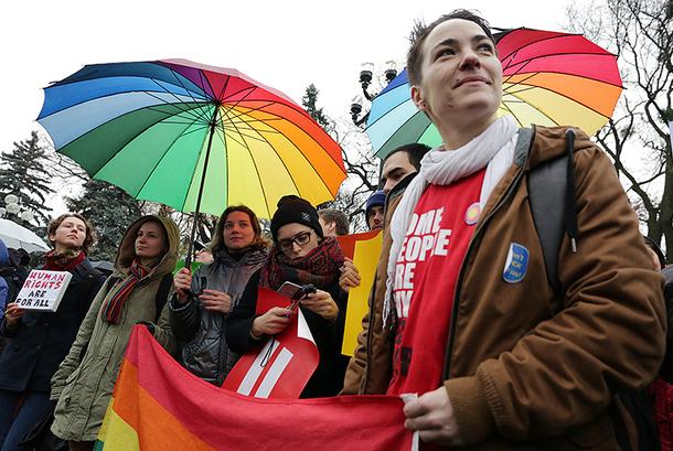 Kiev protesters seek passage of ban on anti-LGBTI discrimination. (Photo courtesy of Anastasia Vlasova via Kyiv Times)