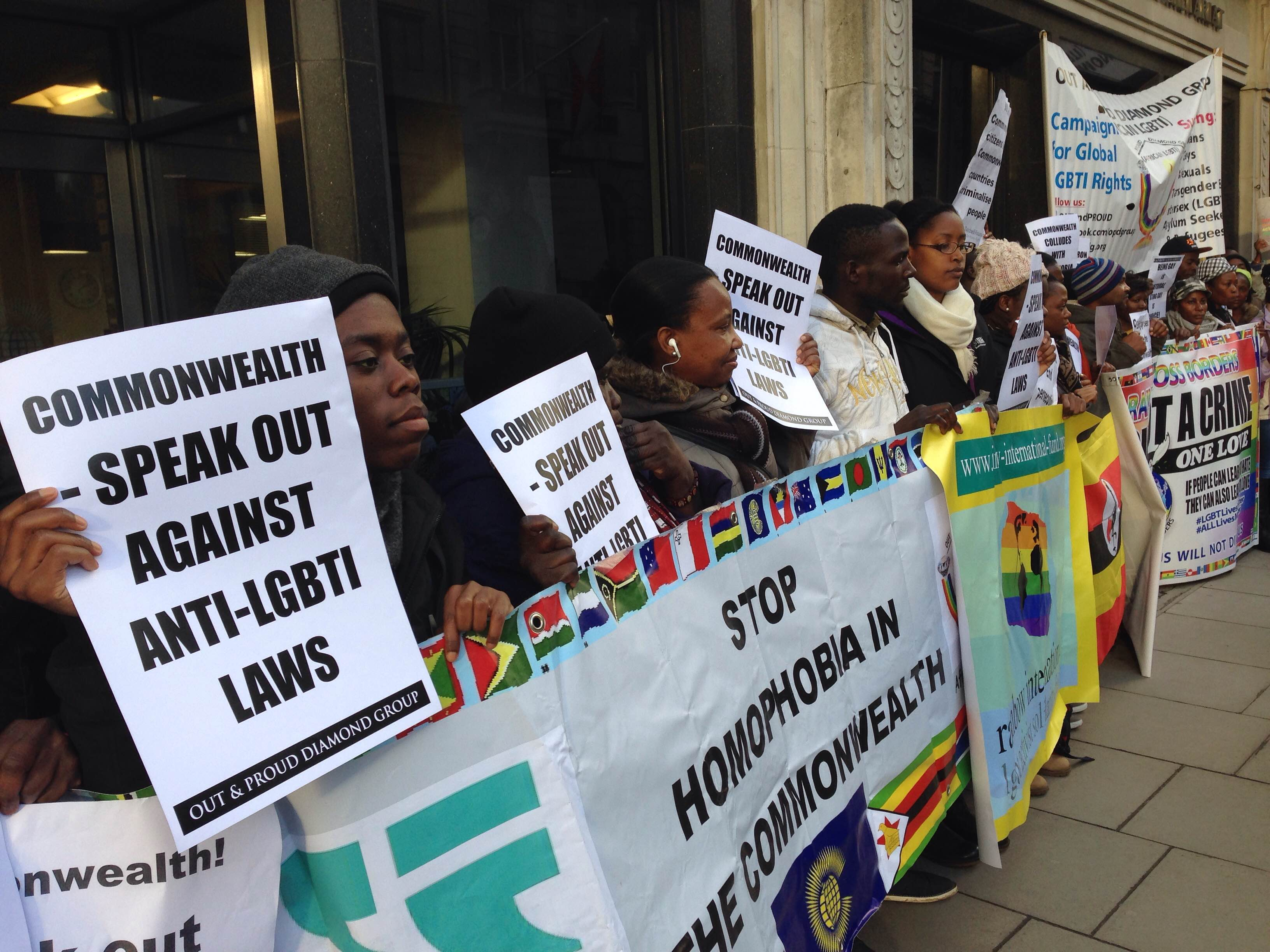 Protesters line up in London on Nov. 25, seeking repeal of anti-homosexuality laws throughout the Commonwealth. (Photo courtesy of Peter Tatchell Foundation)