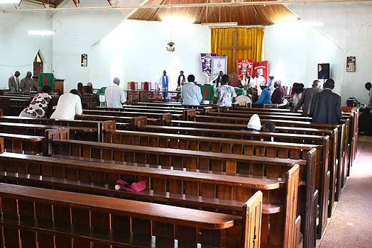 Low attendance at Kagongo parish services after the ouster of the Rev. John Gachau. (Photo by Joseph Kanyi courtesy of Nairobi News)