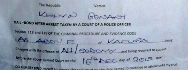 Excerpt from bail document shows that, despite denials, Malawi police made an arrest for alleged sodomy.