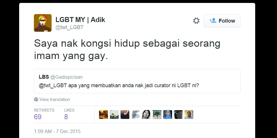 Screen image of a tweet from LGBT imam.