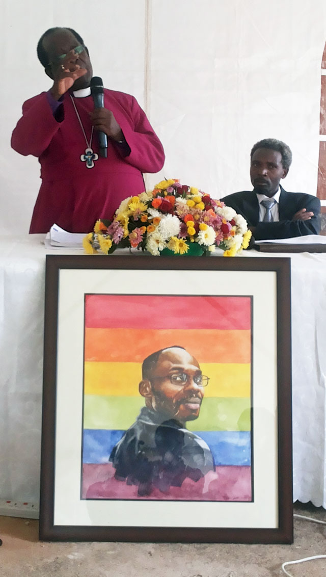 Bishop Christopher Ssenyonjo leads memorial service for David Kato on the fifth anniversary of his murder. (Photo by Kikonyogo Kivumbi)