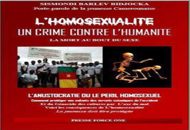 "Sismondi Barlev Bidjoka, president of the Movement of Young Cameroonians, published this image on the group's Facebook site. It calls homosexuality a ""Crime Against Humanity"" and describes it as ""Anus-ocracy, or the Homosexual Peril."" (Photo courtesy of Humanity First)"