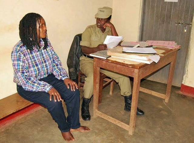Prose Namwebe at the Bukomansimbi police station in Uganda. (Photo courtesy of The Insider)