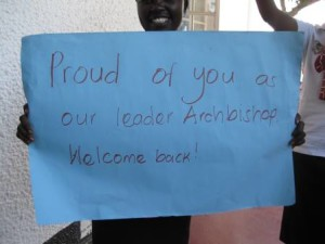 Welcome sign for Archbishop Stanley Ntagali. (Photo courtesy of the Church of Uganda)