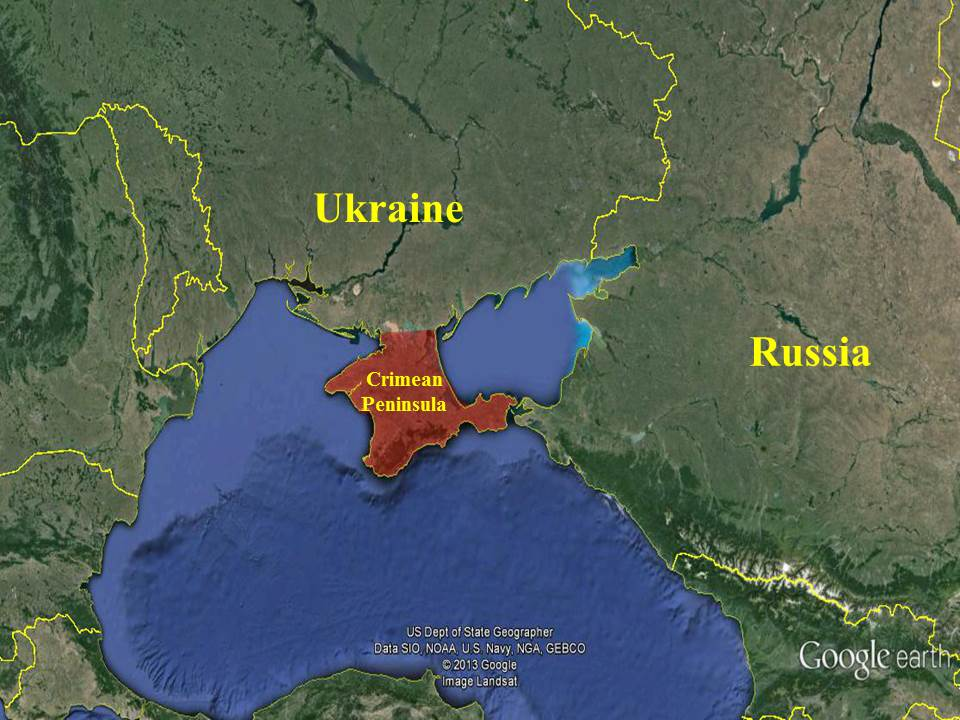Map shows the locations of Crimea, Ukraine and Russia. (Map courtesy of GeorgetownSecurityStudiesReview.org)