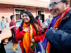 LGBT rights supporters cheer Indian Supreme Court decision outside the court on Feb. 2, 2016. (Photo courtesy of The Hindu)