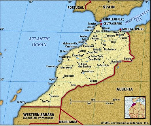 Map of Morocco shows the locations of Casablanca and Tiznit. (Map courtesy of ikuska.com)