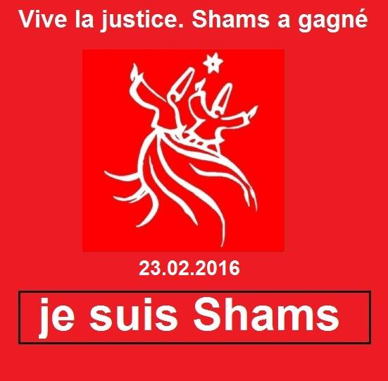 """Shams celebrated its victory with this graphic, which states, """"Long live justice. Shams has won."""" and """"I am Shams."""" (Photo courtesy of Facebook)"""