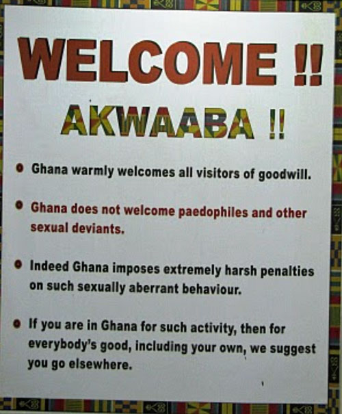 Sign at Ghana International Airport makes clear that LGBTIQ people are not welcome.
