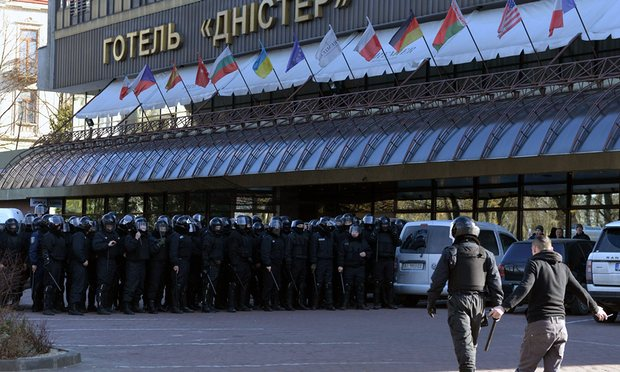 Ukrainian security forces started providing protection for Equality Festival participants only about four hours after it began -- long after anti-LGBT violence began. (Photo courtesy of The Guardian)