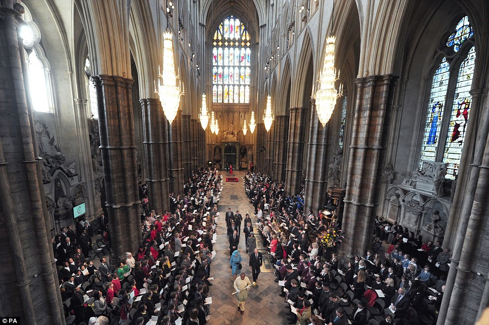Commonwealth Day procession in Westminster Abbey. (Photo courtesy of the Daily Mail.)
