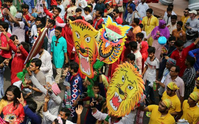 This year's Mongol Shobhajatra procession in Dhaka. (Photo by Zahidul Karim courtesy of Prothom-Alo.com)