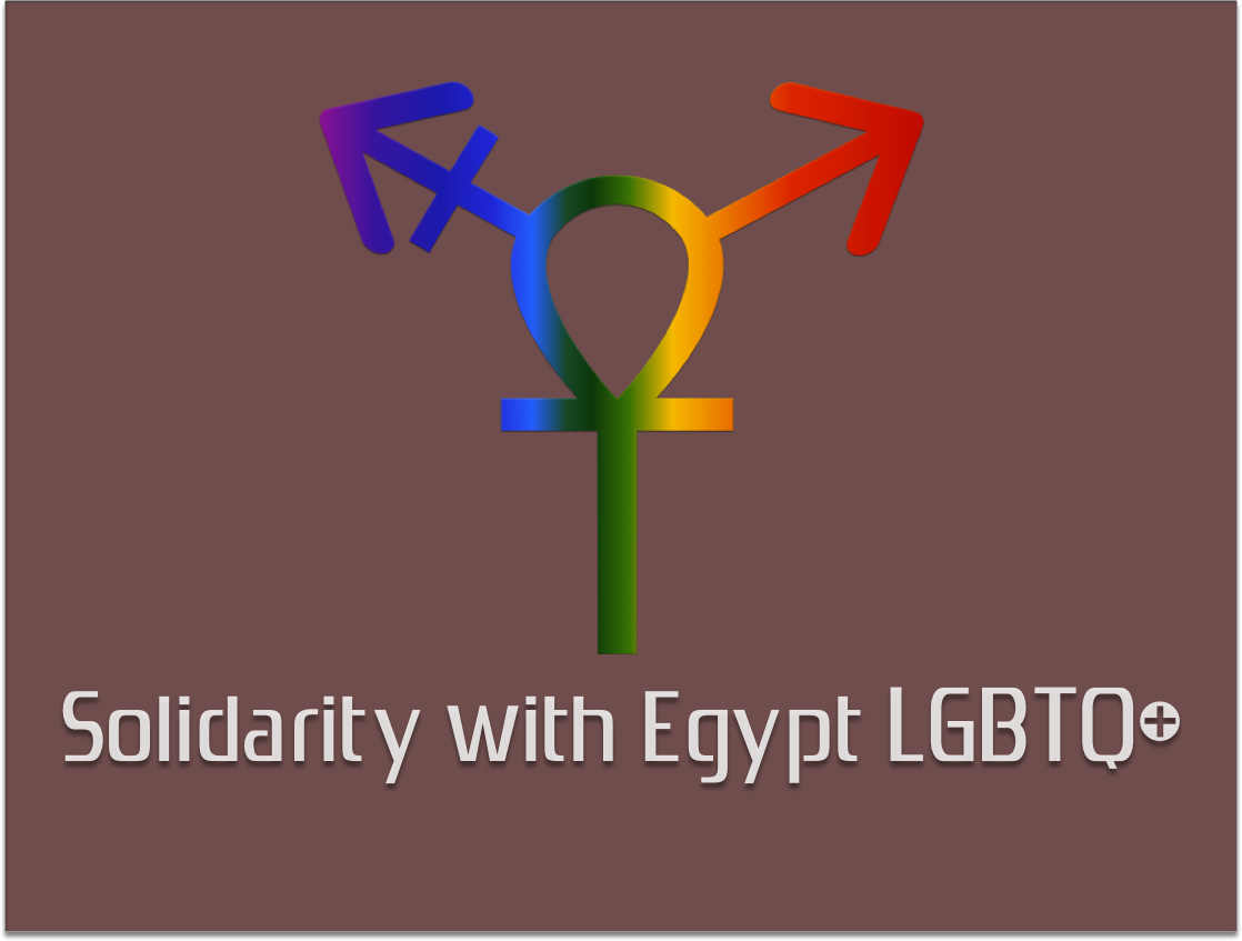 """Solidarity with Egypt LGBTQ+ explains: """"We designed this logo according to our beliefs, our identities, and the identity of our cause at Solidarity with Egypt LGBT. We used the 'Ankh' or key of life in order to express the historical meaning behind this symbol and how, in our minds, it is connected to feminism and the diversity of gender and sexual identity in Egypt."""""""