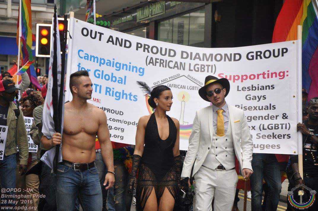 The banner of  Out and Proud Diamond Group was prominent in the Birmingham Pride parade. (Photo courtesy of OPDG)