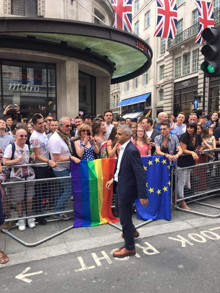 London Mayor Sadiq Khan leads the London Pride march. (Photo courtesy of OPDG)