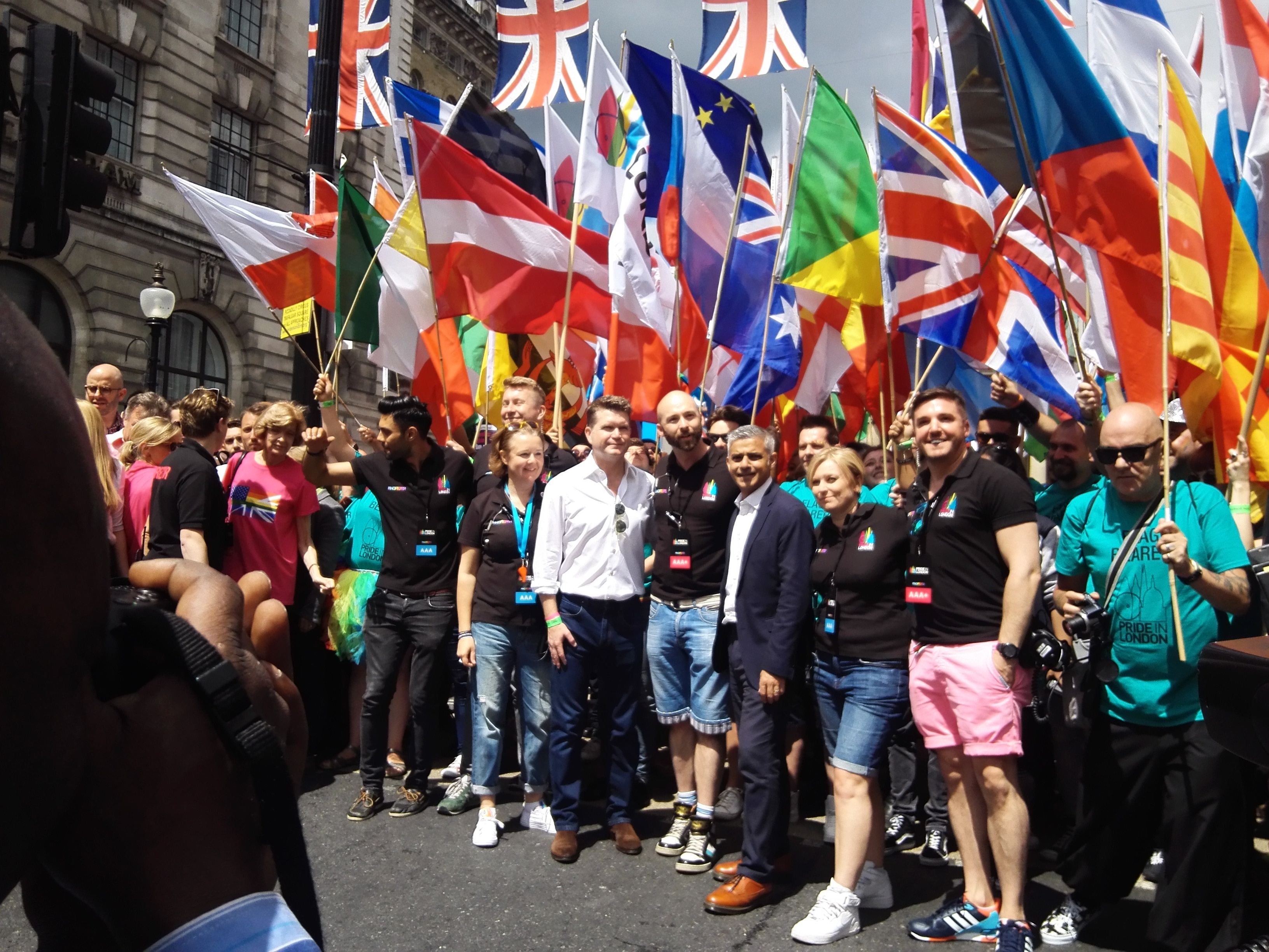 London Mayor Sadiq Khan and U.S. Ambassador Matthew Barzun were at the front of the London Pride parade. (Photo courtesy of OPDG)