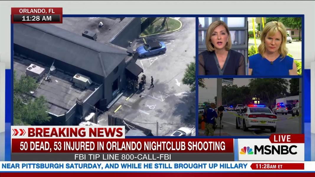 TV news coverage of Florida massacre of June 12, 2016.