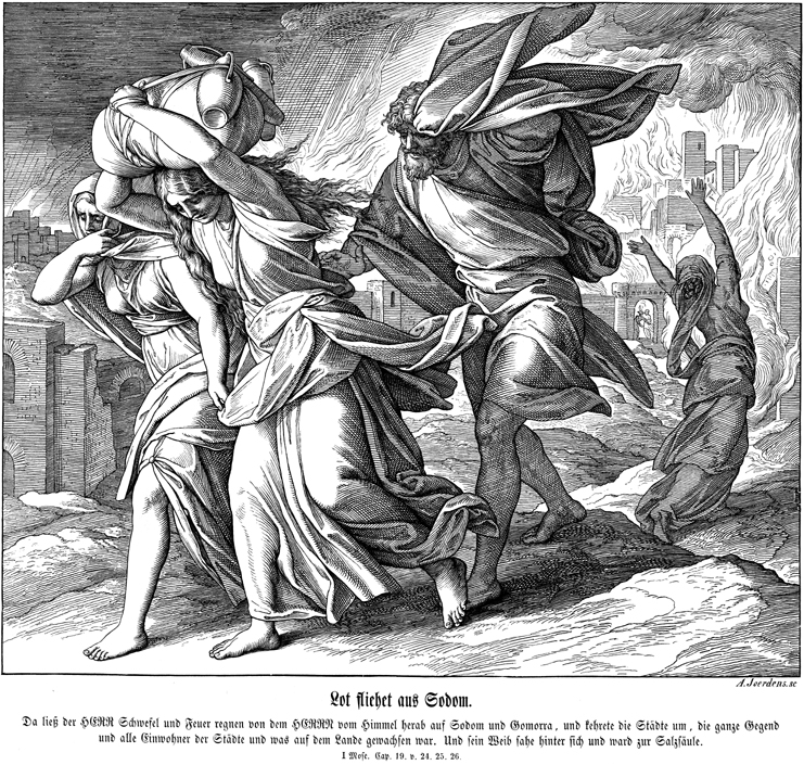 In a 19th century woodcut based on the Biblical story of Sodom and Gomorrah, Lot and his family flee from Sodom. On the right, Lot's wife looks back and soon will be turned into a pillar of salt. (Image courtesy of emory.edu)