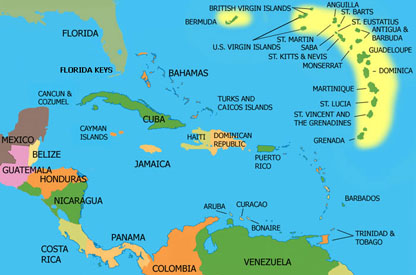 ECADE countries -- Grenada, Saint Lucia, Barbados, Saint Martin and Dominica -- are in the eastern Caribbean. (Map courtesy of internationalLaw.blogfa.com)