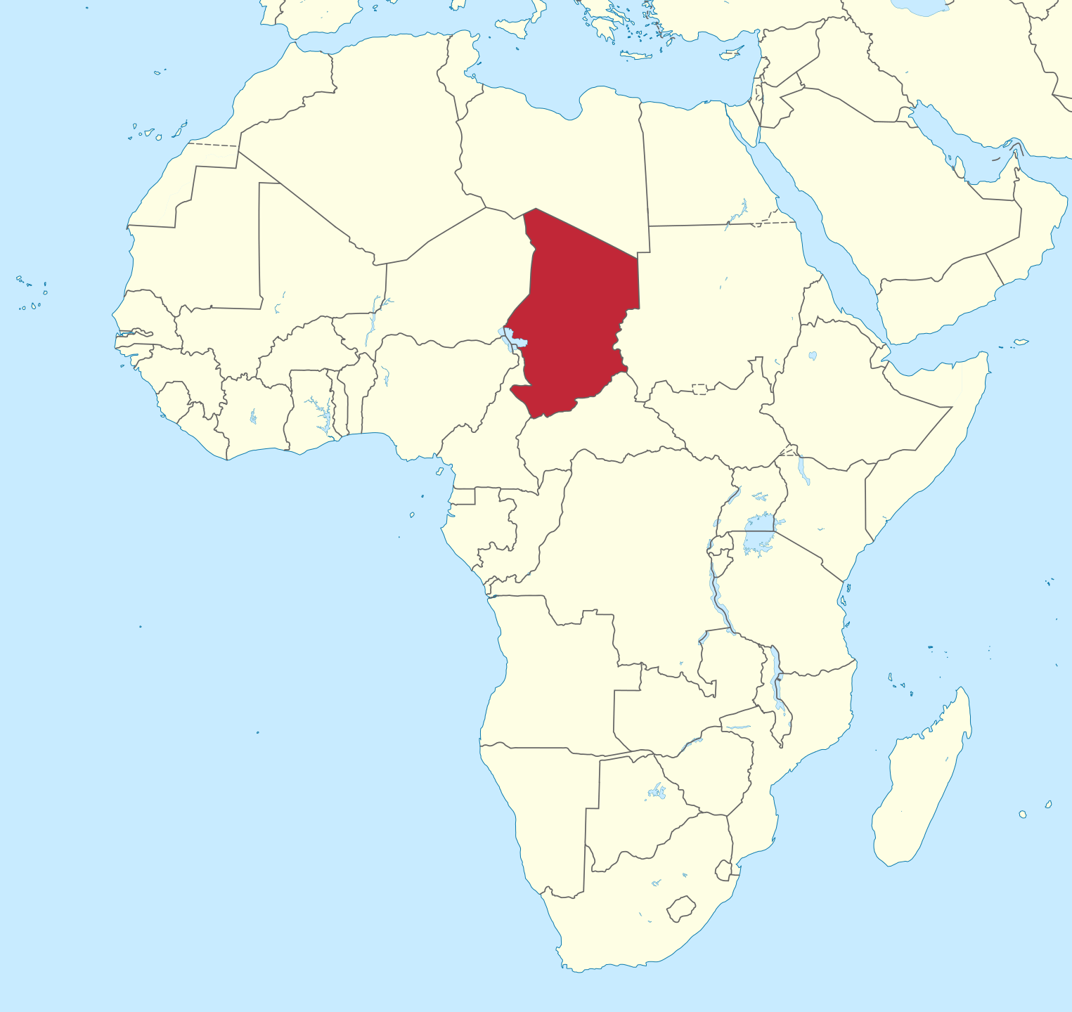 Location of Chad in north-central Africa (Map courtesy of Wikimedia Commons)