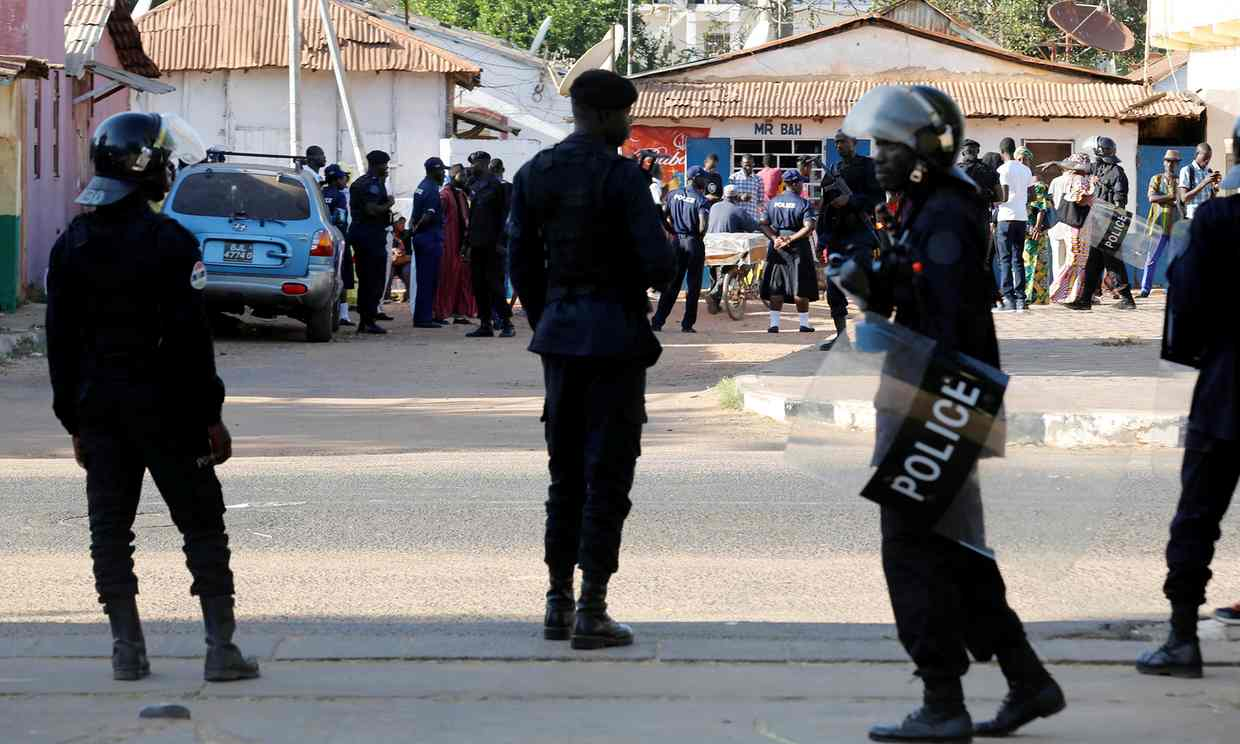 The Guardian published this photo of Gambian army troops last week patrolling the streets of the capital, Banjul.