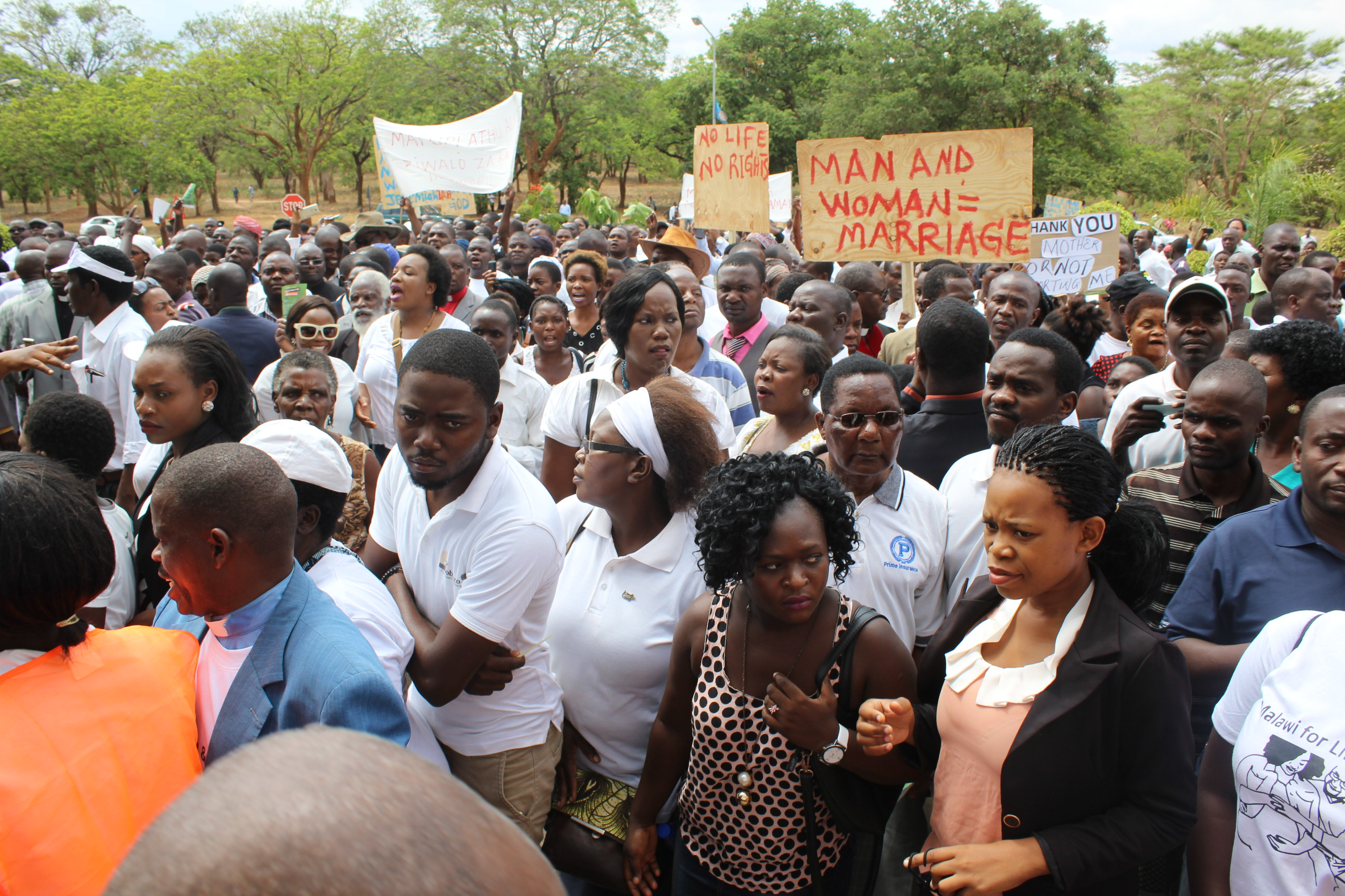 Malawi marchers on Dec. 6 focused primarily on abortion, but objected to same-sex marriage too. (Photo courtesy of ECM)