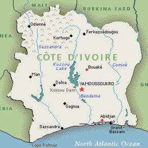 Rural Sassandra is an eight-hour drive west from urban Abidjan, Ivory Coast. (Map courtesy of Vevesworld.com)