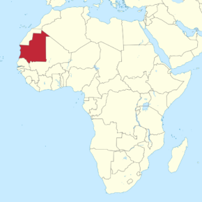 Location of Mauritania in West Africa. (Map courtesy of Wikimedia Commons)