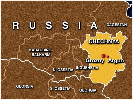 Location of Argun in Chechnya. (Map courtesy of CNN)
