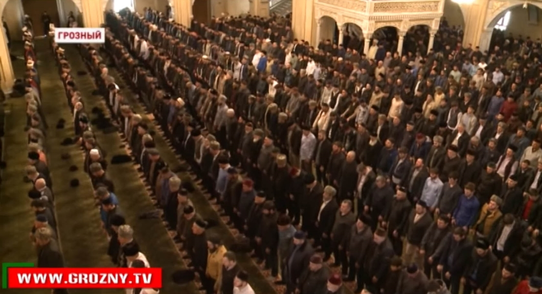 High Assembly at the main mosque in Grozny, Chechnya, called for retribution against journalists who reported on mass arrests of suspected gays in Chechnya. (Photo courtesy of Grozny TV and Novaya Gazeta)
