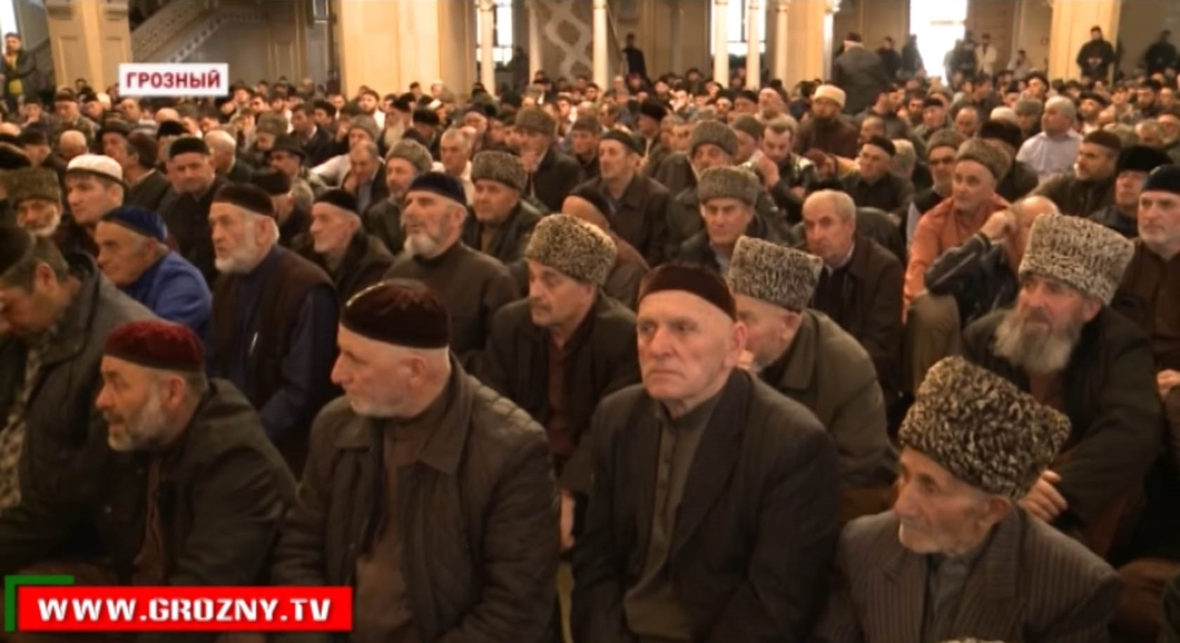The High Assembly at the Grozny mosque on April 3, 2017. (Photo courtesy of Grozny TV and Novaya Gazeta)