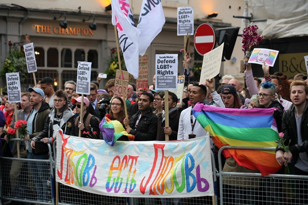Demonstrators in London protest anti-LGBT human rights abuses in Chechnya. (Photo courtesy of Out in Perth)