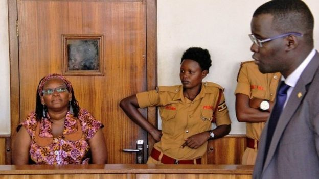Stella Nyanzi after her April 7 arrest at magistrate's court in Kampala, Uganda (Photo courtesy of AFP)