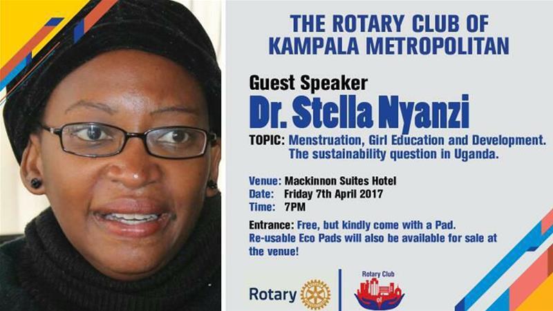 Stella Nyanzi campaigns for sanitary pads for needy girls and women in Uganda.